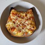 【簡単おススメ!】ねこねこ食パン使用「フワフワサケフレークエッグマヨネーズ添え食パン」をご紹介します!